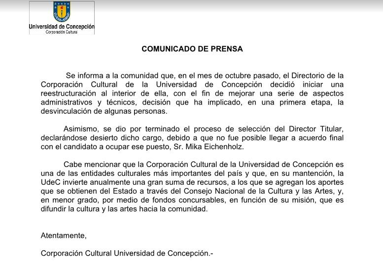 Comunicado oficial de la CORCUDEC